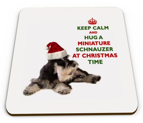 Christmas Keep Calm And Hug A Miniature Schnauzer Novelty Glossy Mug Coaster